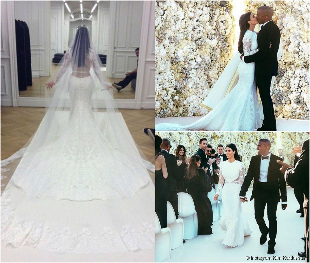 Kim Kardashian Lace Cathedral Wedding Veil Wedding