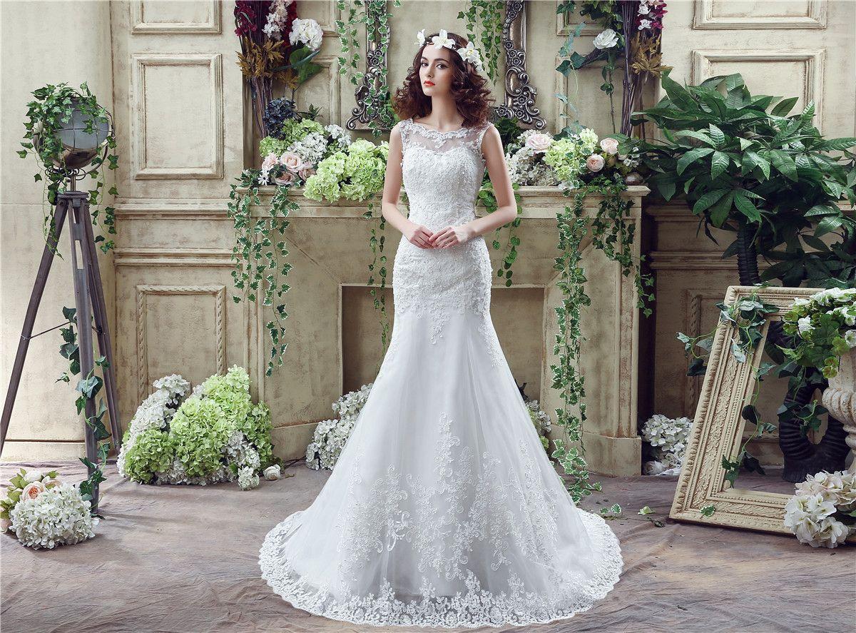 2016 In Stock Lace Mermaid Wedding Dresses Sheer Jewel