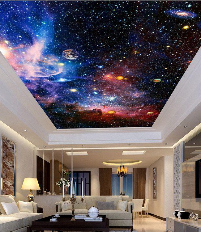 ceiling murals wallpaper night sky. Black Bedroom Furniture Sets. Home Design Ideas