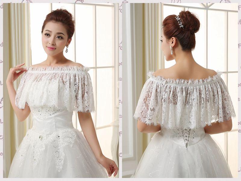 2017 2015 Lace Off Shoulder Bride Wraps Elegant Bridal