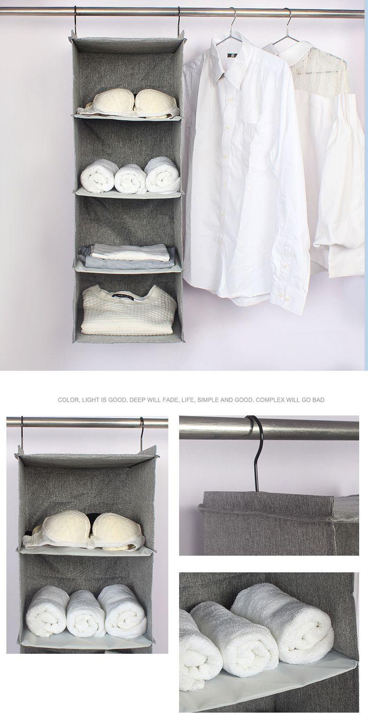 2019 4 Layers Cotton Linen Multifunction Storage Bag Wardrobe Hanging Bag Cloth Drawer Clothes Storage Box Organizer Hanging Closet From