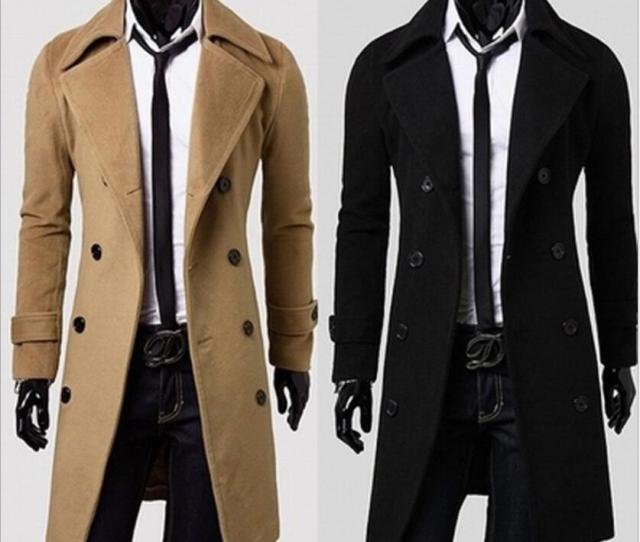 2019 Black Colors Hot Sale Long Wool Coat Mens Double Breasted Trench Coats Wholesale Men Simple Luxury Men Overcoat From Tina Dhgate Com