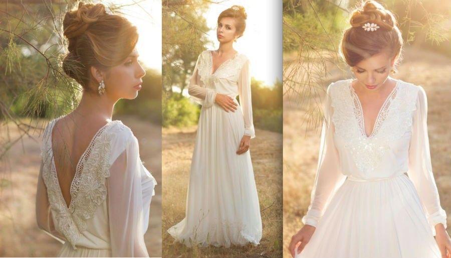 Discount Simple Long Sleeve Boho Wedding Dresses Deep V