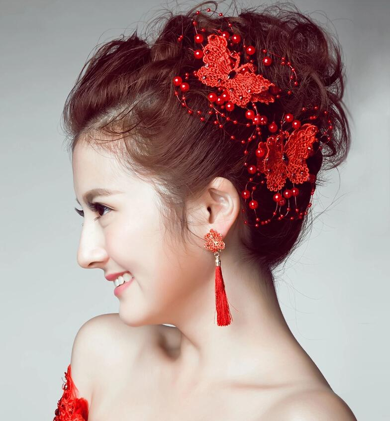 bride headdress korean jewelry headdress flower dish hair red butterfly with pearl wedding accessories hair clips hair for bride hair jewellery online from