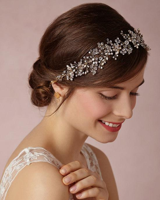 image show luxury gold silver diamond crystal garland wedding accessory hair