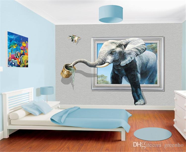 Creative 3d Photo Wallpaper Wall Mural Elephant Animal Wall Stickers     Creative 3d Photo Wallpaper Wall Mural Elephant Animal Wall Stickers Custom  Large Size Non Woven Canvas Room Decor Home Background Wall Phone Wallpapers