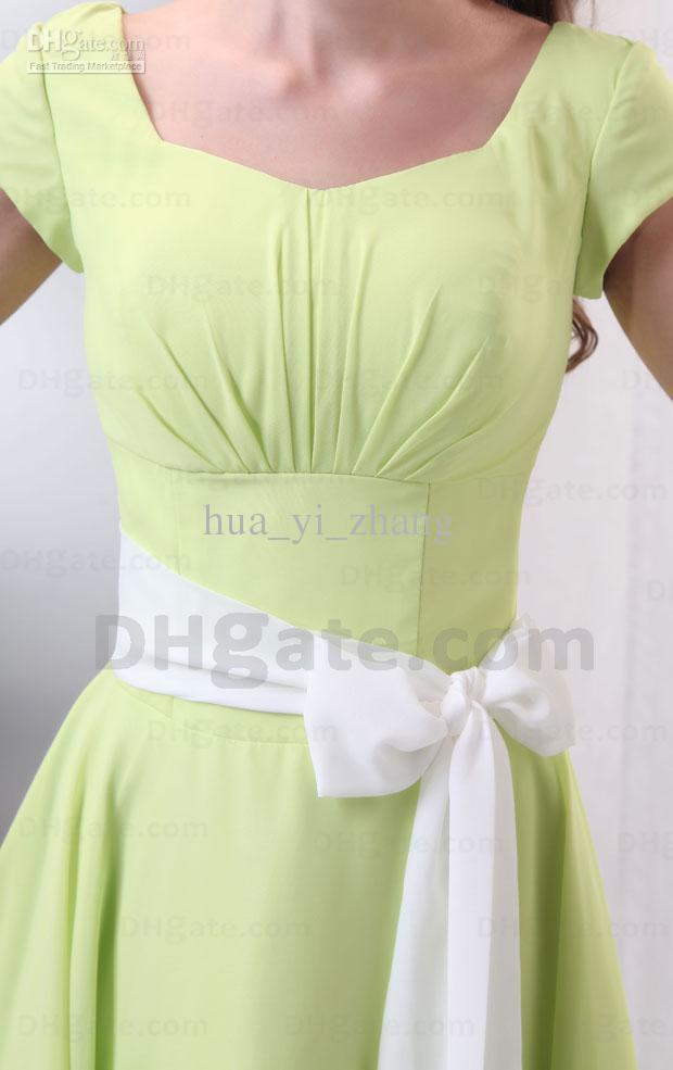 Beautiful Light Green Square Neckline Bridesmaid Dress For