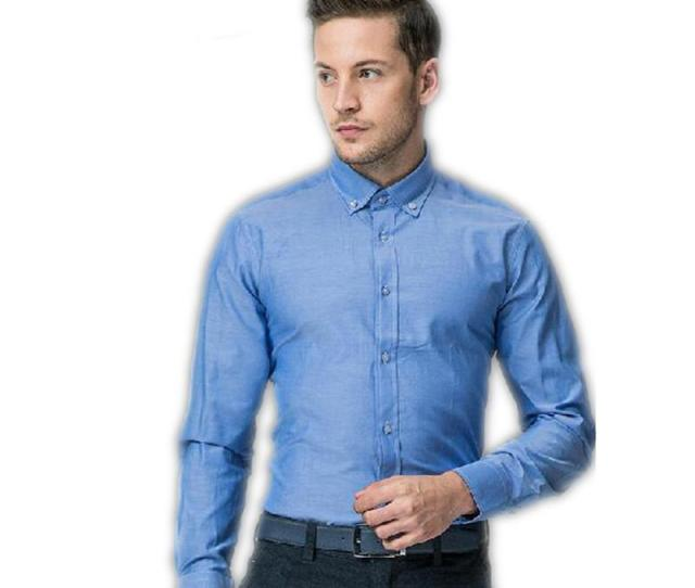 Fashion Mans Shirt Business Shirts New Style Blue Mans Formal Wear Slim Fit Groom Shirts Young Man Formal Clothes Groom Tuxedos Groom Suits Groom Dress