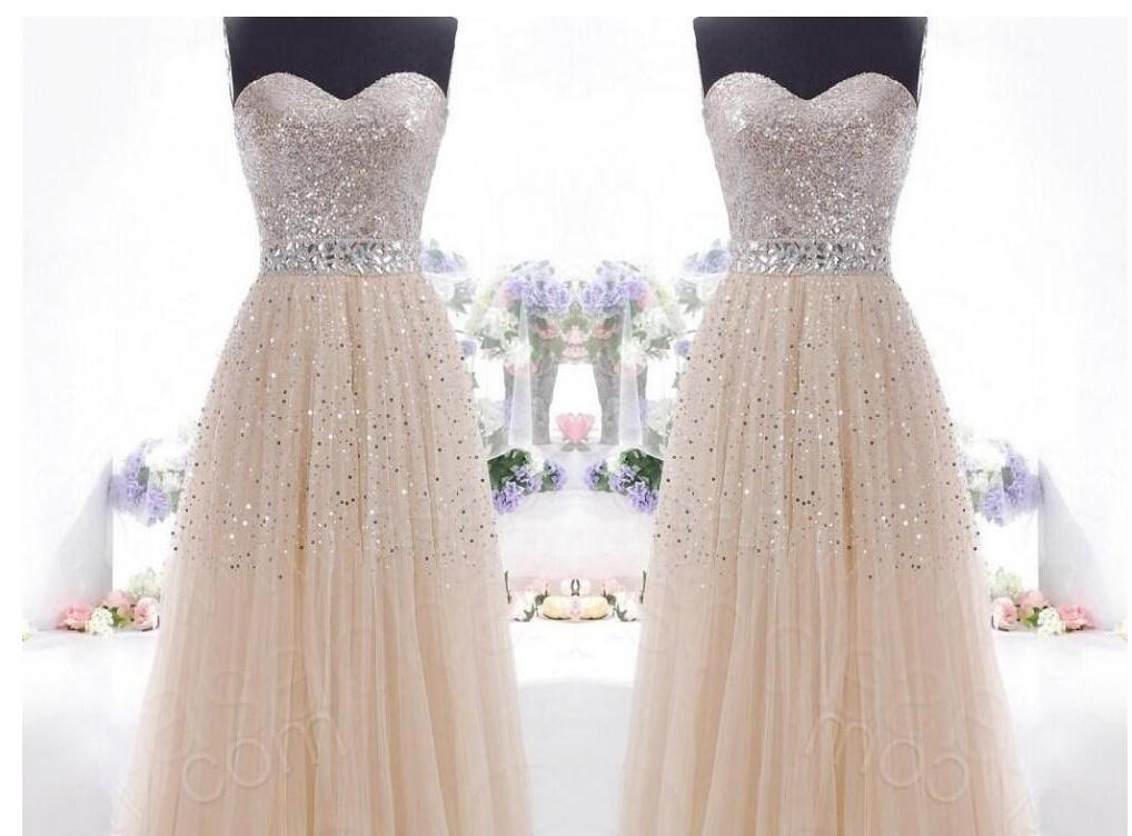 2015 Long Chiffon Sweetheart Prom Dress With Sequin Ball
