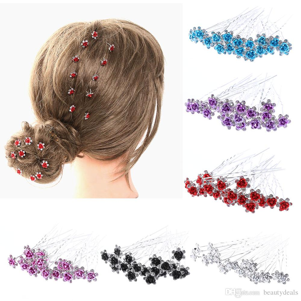 chic crystal rose flower hair clips wedding bridal hair pins bridesmaid jewelry women hair accessories hair decorations decorative hair clips from