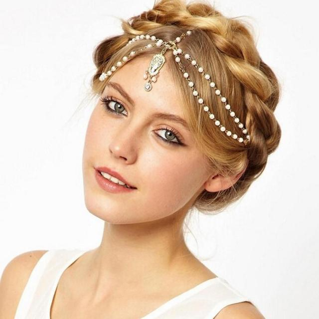 2016 new bohemian style wedding bridal hair accessories head chains metal beaded pearl forehead headband indian hair jewelry bridal crown