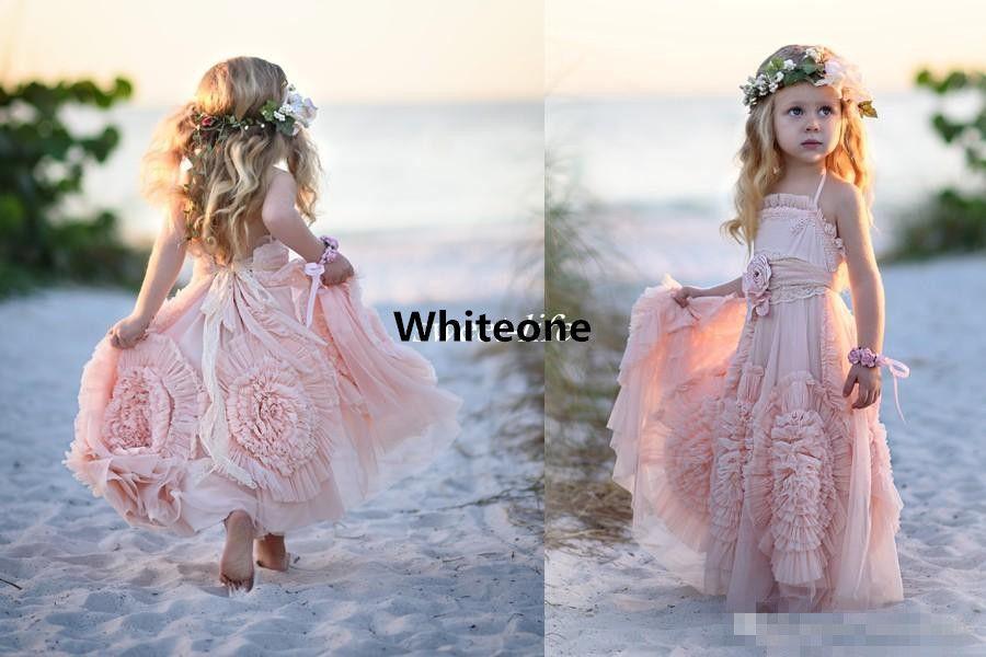 Pink Ball Gown Flower Girl Dresses Spaghetti Ruffles