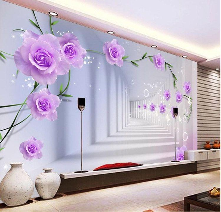 Elegant Photo Wallpaper Custom 3d Wall Murals Purple