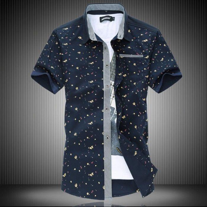 Male Korean Shirt 2015 Summer Men's Shirt with Short