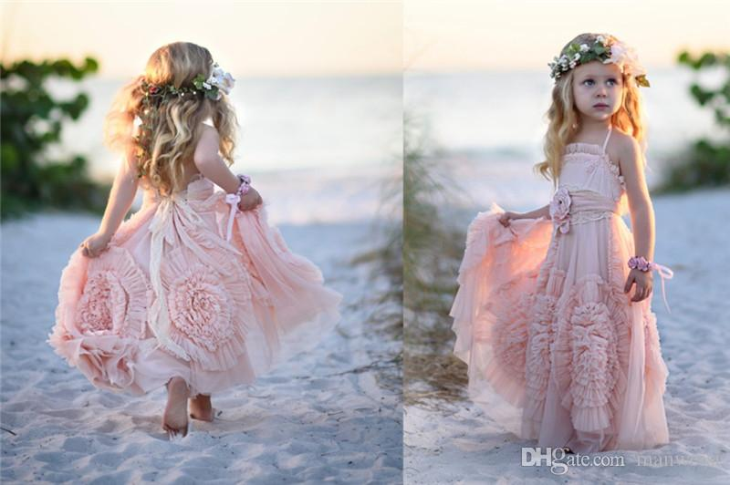 Cheap Pink Flower Girls' Dresses For Wedding 2018 Lace