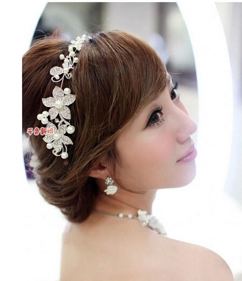 in stock 2016 hot sale cheap fascinators wedding bridal hair accessories fancy pearl tiaras headdress high quality wedding accessories hair claws hair