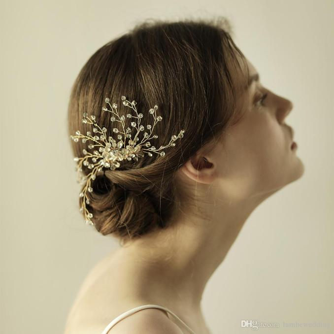 a stunning modern wedding hair combs crystals in clear flexible and bendable gold or silver bridal headpieces tiaras bridal accessories