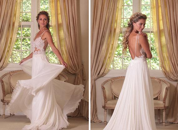 Discount Sexy Lace Backless Country Style Wedding Dresses