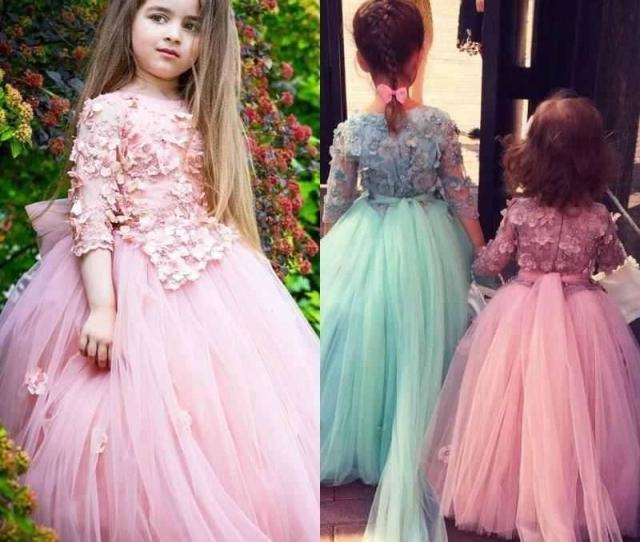 New Design Cute Tulle Little Cheap Flower Girl Dresses Half Sleeves Girls Formal Wear Gowns Lace Kids Pageant Dress For Wedding Girls White Dress Ivory