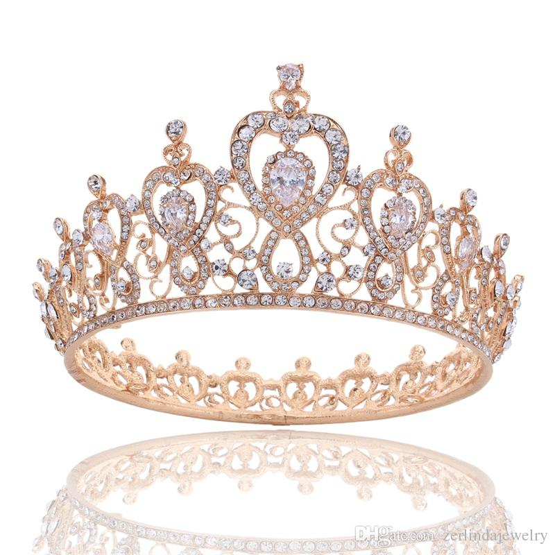 Elegant Full Round Queen Crown Tiara Clear Crystal