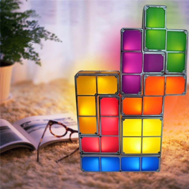 acheter tetris puzzle lampe de bureau led constructible block table decorative empilable night light nouveaute magique puzzle cube cadeau de noel de 17 09