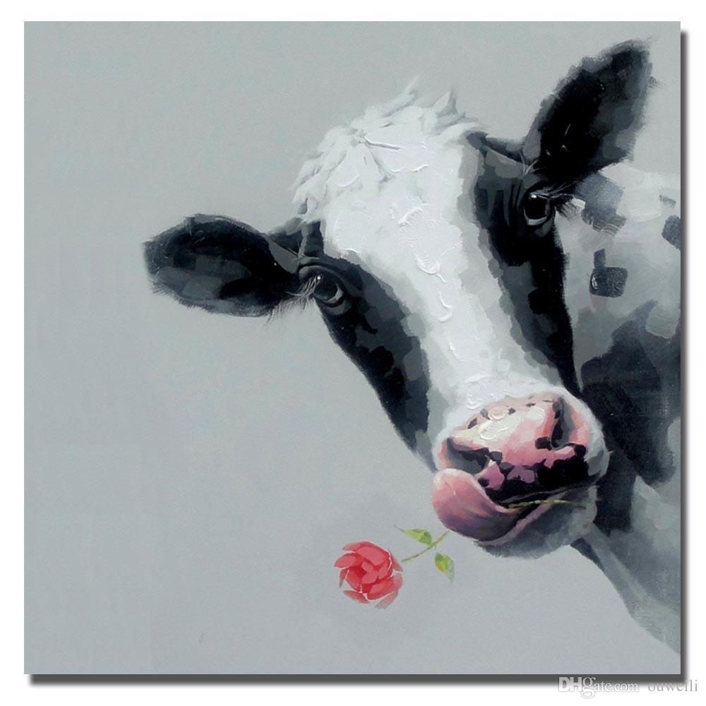 2019 Hand Drawing Abstract Cow And Rose Pictures Decorative Design Realistic Animal Dairy Cattle