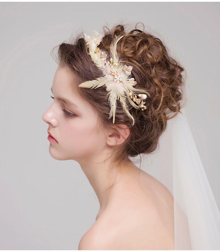 2018 fashion bridal headdress gold hair crowns feather pearls hair bands elegant wedding headpieces bridal accessories new gold hair crowns bridal headdress