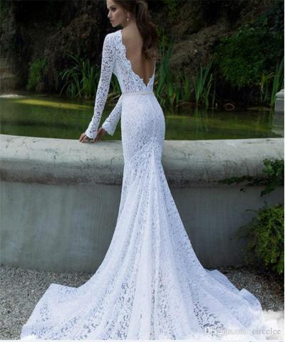 2017 Sexy Backless Wedding Dresses Online Gorgeous Wedding Gowns     2017 Sexy Backless Wedding Dresses Online Gorgeous Wedding Gowns Unique  Bridal Wear Long Sleeve High Neck Sweep Train Wedding Dresses Bridal Ball Gown  Gown