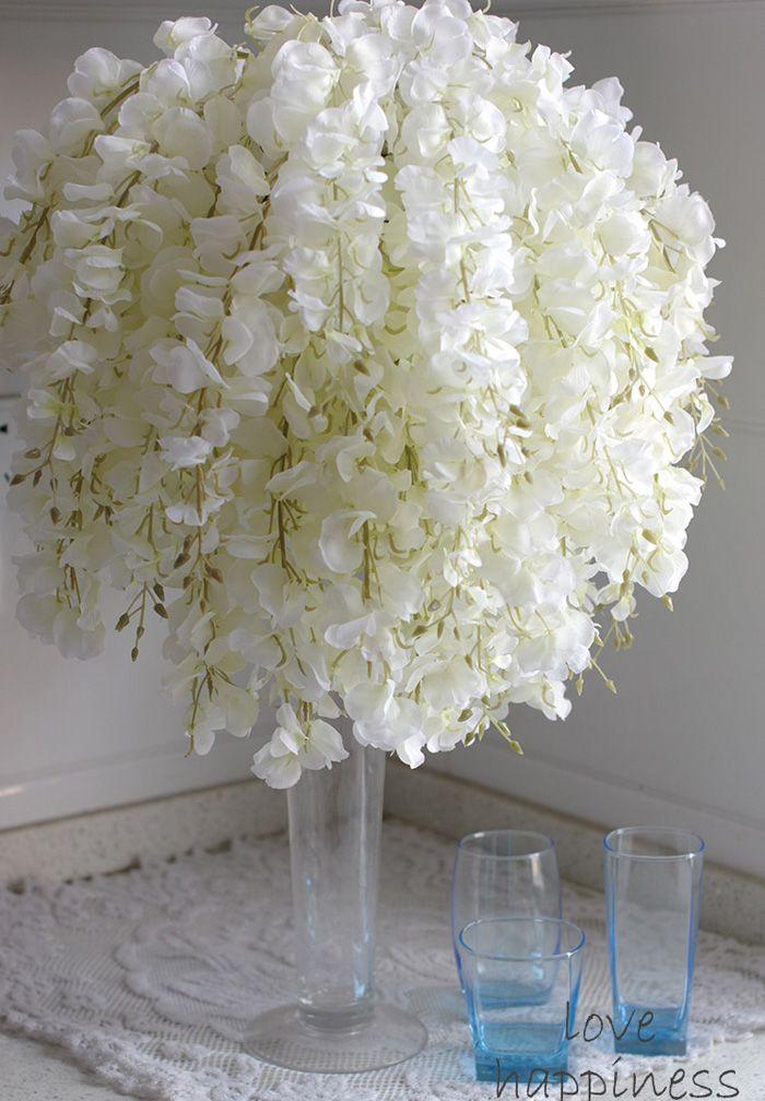 2019 DIY Artificial White Wisteria Silk Flower For Home Party Wedding Garden Floral Decoration