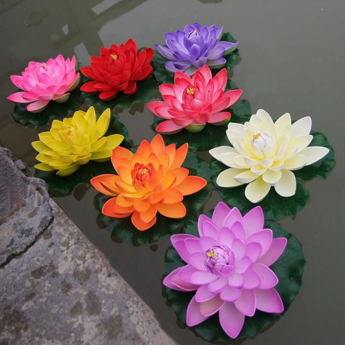 2018 Artificial Floating Lotus Flowers Garden Aquarium Floating     Dry note  will flower simulation inversion  flowers down the natural air  dry  not exposed to the sun  not recommended for regular washing  even salt  will