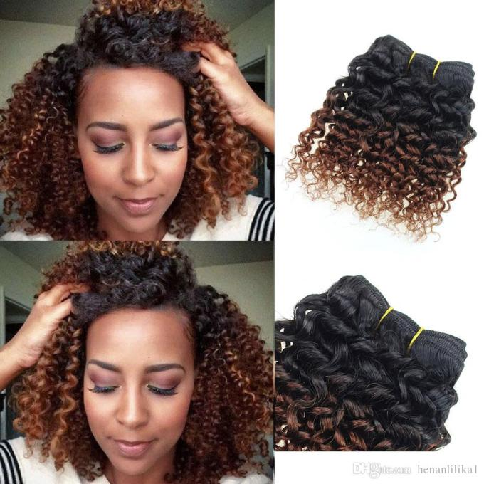 brown human hair extensions kinky curly weave 6 bundles 8 inch bob ombre brazilian virgin hair weave 1b 33# deep curly hair products