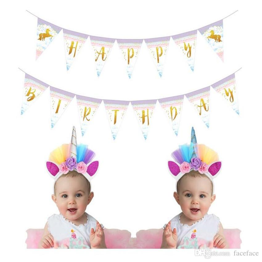 Rainbow Unicorn Horn Headband Birthday Party Hats Unicorn