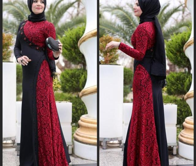The Newest Design Black Red Long Arab Muslim Evening Dresses A Line Lace Beaded Long Sleeves Floor Length Women Party Gowns Evening Dresses Major Beading