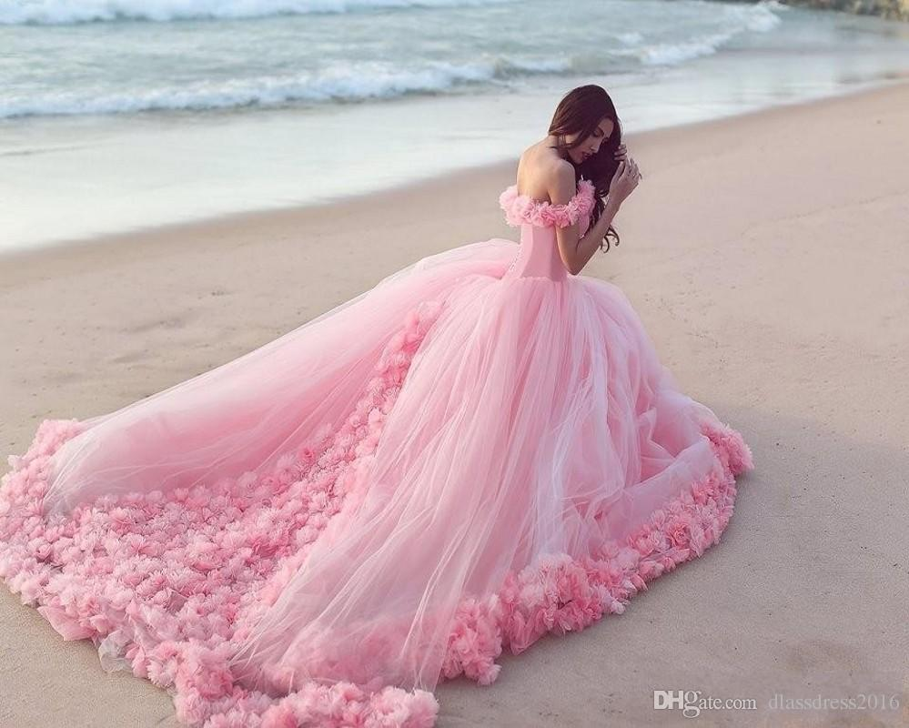 2016 Pink Ball Gown Fluffy With Hand Made Rose Flowers