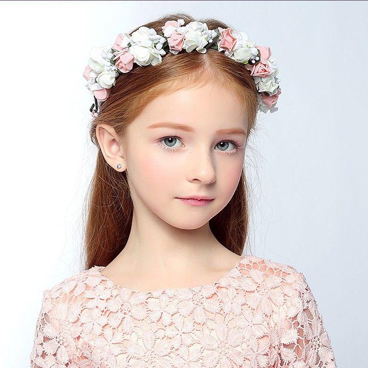 cute pretty floral flowers girl garland headwear wreaths crown girls head piece headband accessories wedding tiara for flower girl flower girl hair pieces