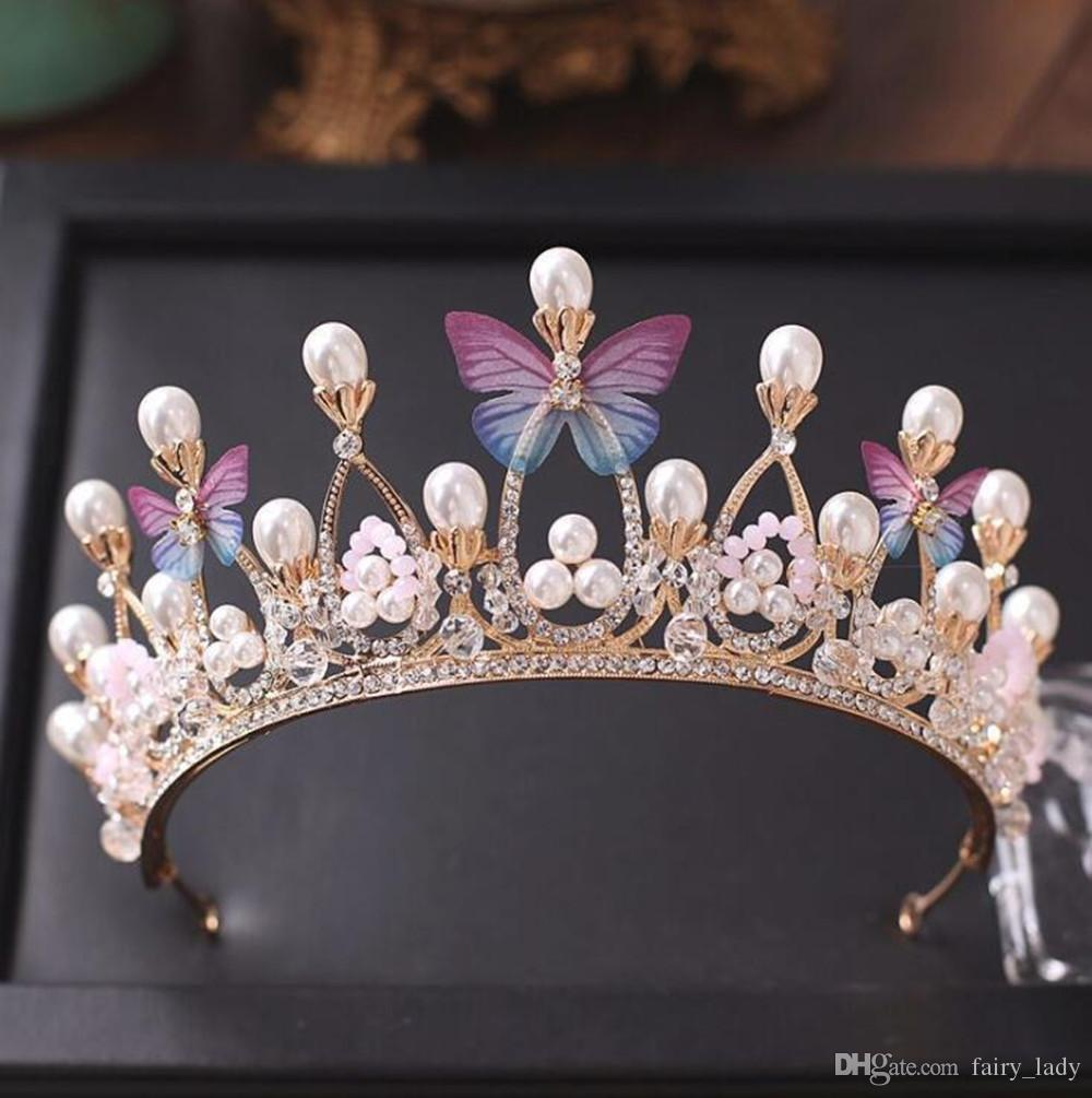 Princess Gold Color Wedding Crowns And Tiaras 2018 Pearls