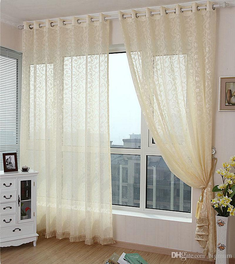 New Arrival Luxury Tulle Without FringeSheer CurtainsOrganzaVoile For Living Room Window
