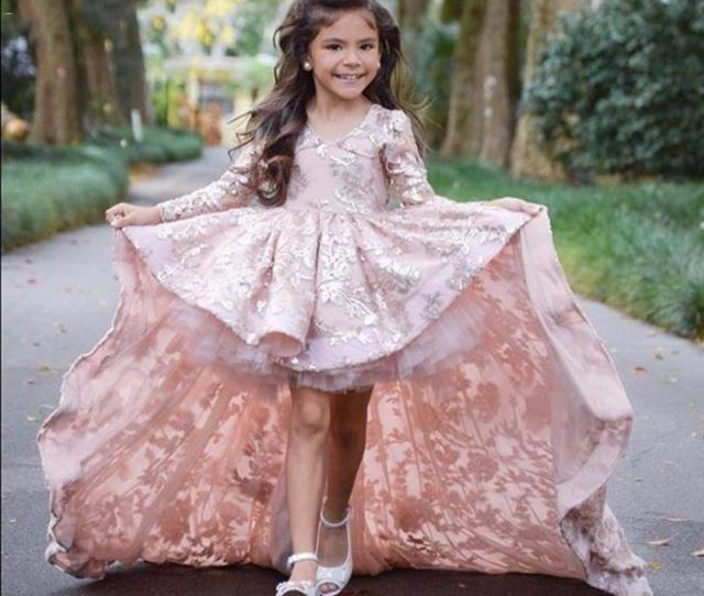 Lace Little Real Photo Flower Girl Dresses With Full Sleeves Front Short Long Back Prom Dress Kids Beauty Pageant Dresses For Little Girls Bridal Girl