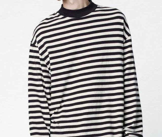 Men Designer Streetwear T Shirt Hip Hop Striped Oversized Long Sleeve Printed Round Collar Top Clothes Wholesale Offensive T Shirts Sports T Shirts From