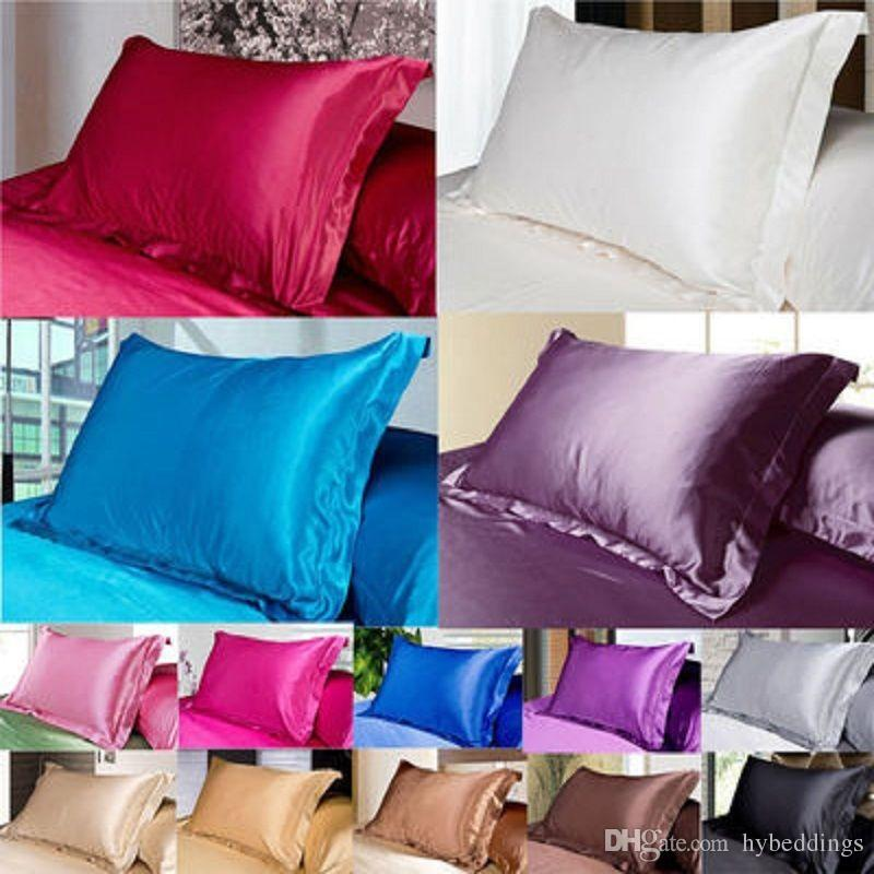 acheter vente en gros solide emulation silk satin taie d oreiller unique taie d oreiller multicolore taie d oreiller standard 50 x 70 cm taille de 9 34 du