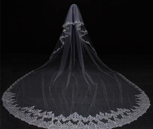Meters Bling Sequins Full Edge Lace Two Layers Wedding Veil With Comb Long Bridal Veil Veu De Noiva Red Birdcage Veil Russian Veil From