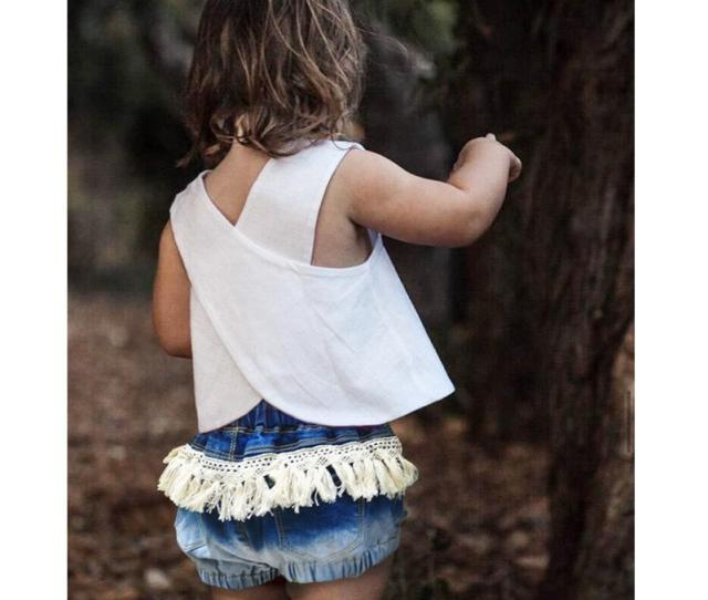 Little Girls Jeans Shorts Pants For Baby Kids Summer Denim Tassels Shorts Knickers Tight Pants Short Trousers Jeans Children Short Hot Pants Girls Long