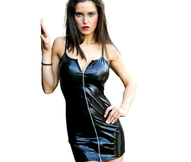 2019 Women Black Faux Leather Pvc Sexy Party Mini Dress Zipped Wet Look Costume Clubwear From Chinagoodies 17 25 Dhgate Com