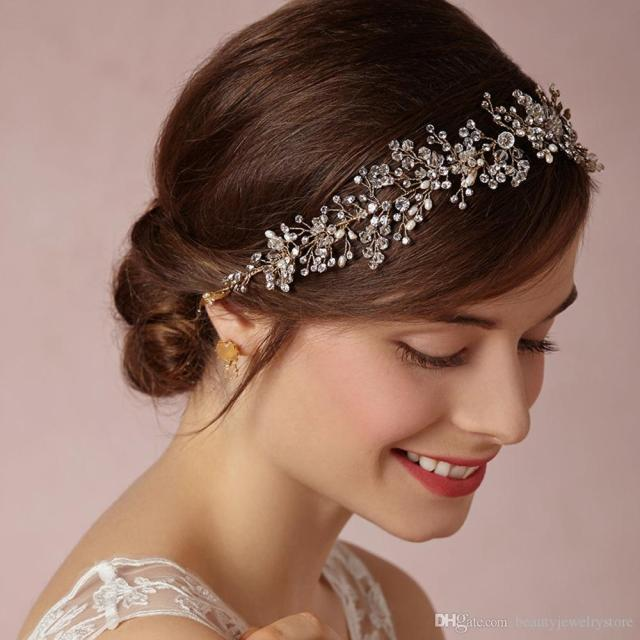 gold and sliver crystals bridal hair jewelry fashionable europe style wedding hair accessories with straps headpieces