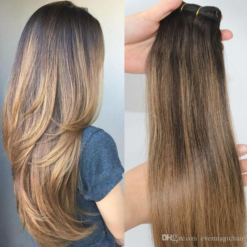2 6 Human Hair Extensions Balayage Highlights Dark Brown