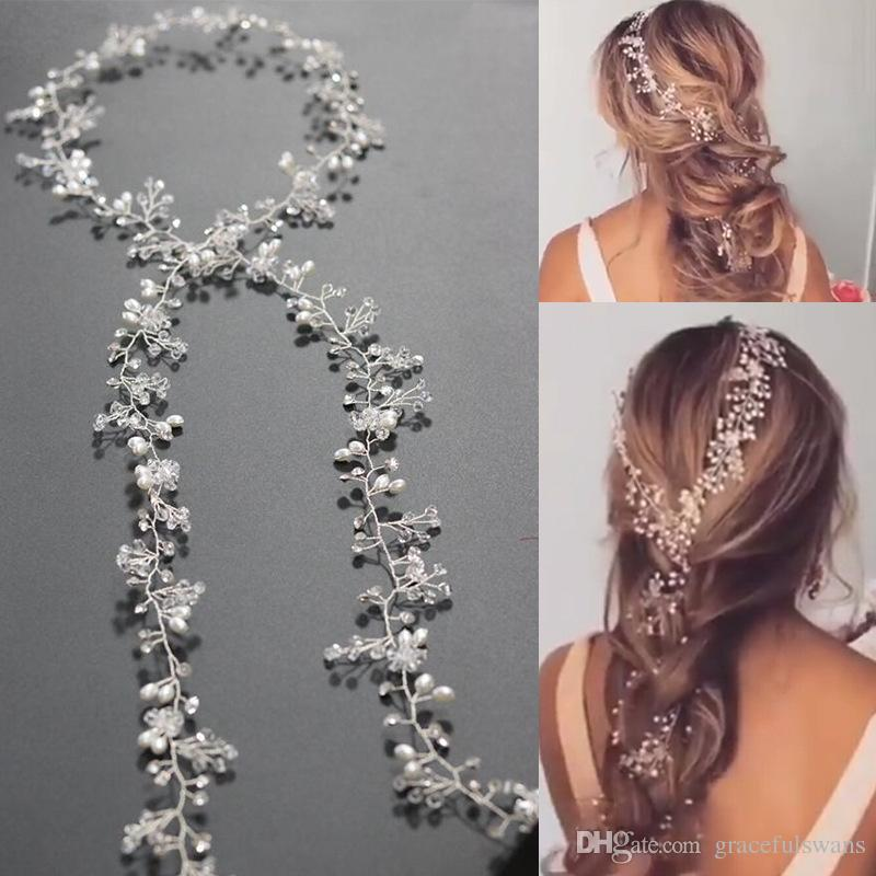 charming around 1 5 meter long pearls wedding bridal headband bridal hair accessories wedding pearl hair vine barrettes ivory wedding veils pearl hair comb