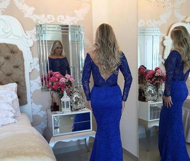 2017 Hot Sales Myriam Fares Arabic Mermaid Bateau Evening Dressess Long Sleeves Sexy Back Lace Trumpet Prom Party Gowns Floor Length Pink Dresses Elegant