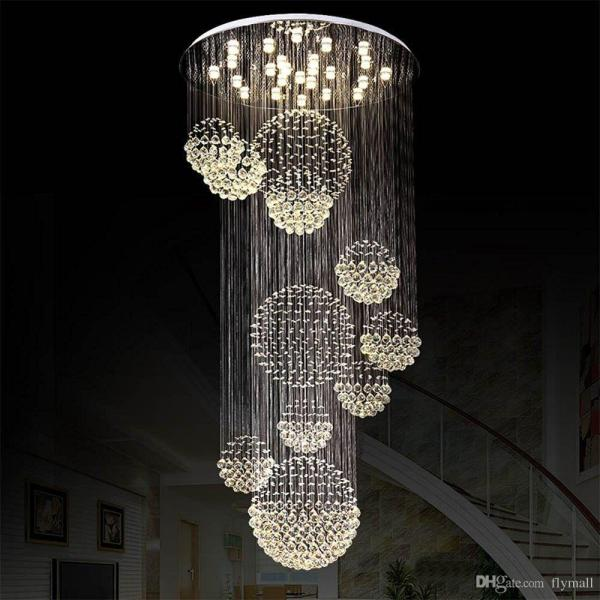Modern Chandelier Large Crystal Light Fixture For Lobby Staircase     Modern Chandelier Large Crystal Light Fixture For Lobby Staircase Stairs  Foyer Long Spiral Lustre Ceiling Lamp Flush Mounted Stair Light Cool  Chandeliers