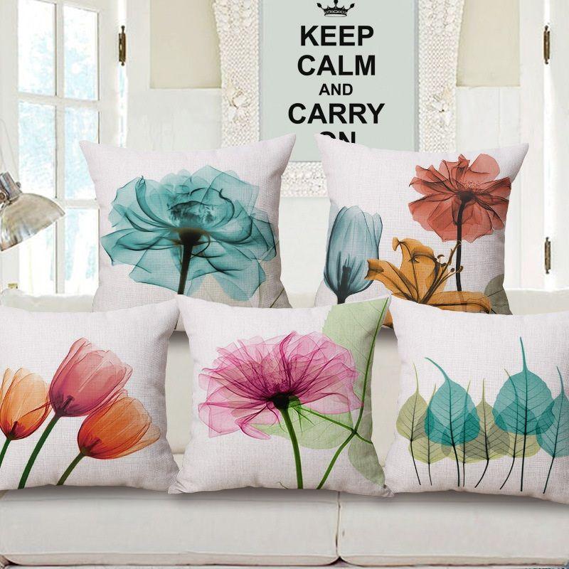 acheter coussins de fleur de tulipe elegant couvre couleur pourpre bleu rose fleurs laisse housse de coussin canape de voiture canape decoratif beige taie