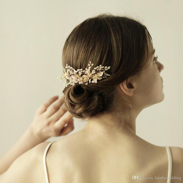 2017 best sale wedding hair combs gold glinting leaves hand wired glass seed beads bridal headpieces tiaras bridal accessories